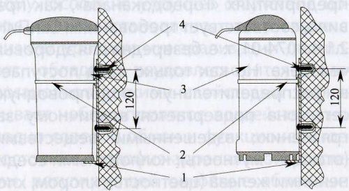Рис.17. Схема крепления фильтров к стене с помощью кронштейна