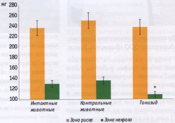 Влияние тонизида на размер зоны некроза и зоны риска