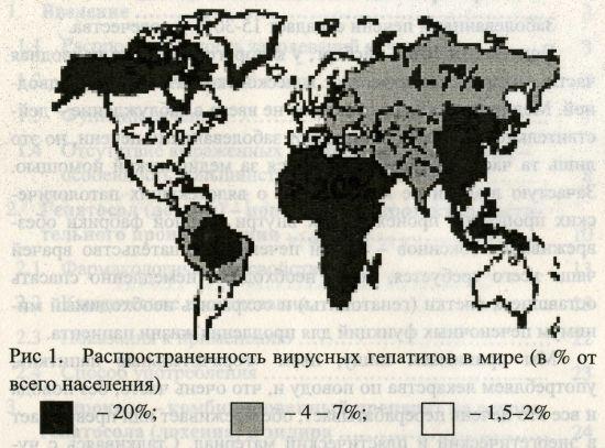 Распространенность вирусных гепатитов в мире